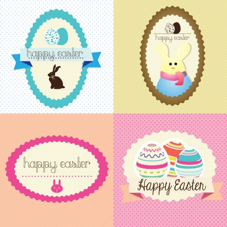 Happy Easter Labels Pastel Colors. Vector Illustration Stock Vector - 17734442