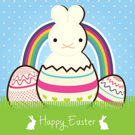 Happy Easter (Cute bunny) on blue background with rainbow. Vector Illustration Stock Vector - 17734420