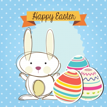 Happy Easter (Cute bunny) on blue background. Vector Illustration
