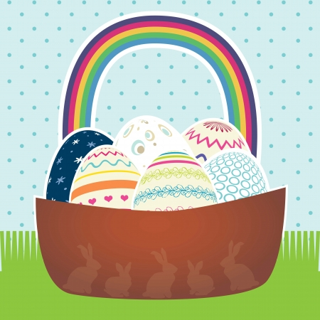 Easter basket with eggs in different colors. Vector Stock Vector - 17734424