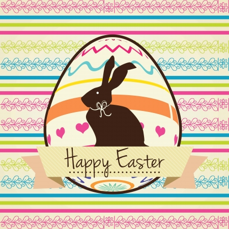 Colorful Happy Easter Card with bunny. Vector illustration.