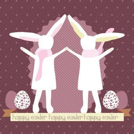 Beautiful Easter Bunnies holding hands, Vector illustration Vector