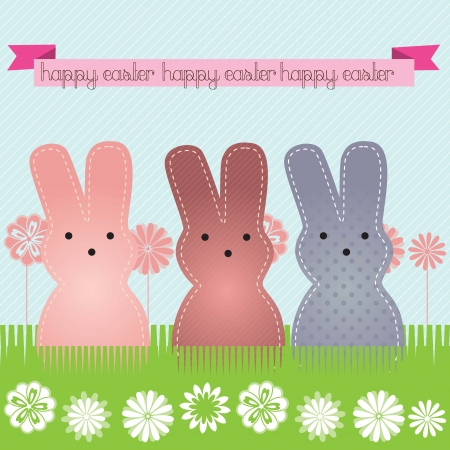 Happy Easter (3 bunnies) on blue background. Vector Illustration Vector