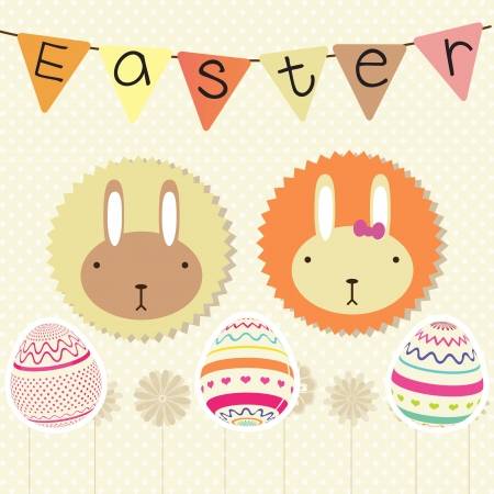 Rabbits and eggs, on vintage background. Vector Illustration Vector