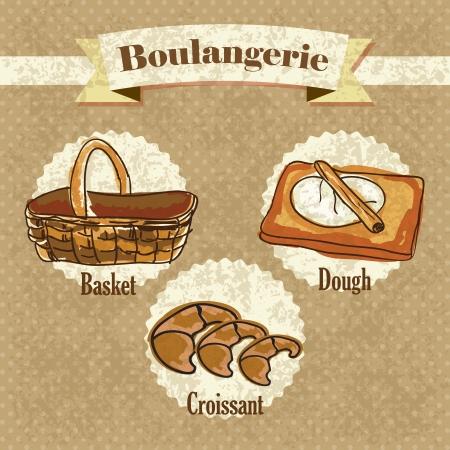 kneading: Boulangerie, elementi su sfondo vintage. Illustrazione vettoriale