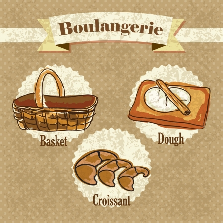 boulangerie: Boulangerie, elements on vintage background. Vector Illustration