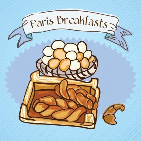 wholemeal: Paris Breakfast, bread, and eggs. Vector illustration Illustration