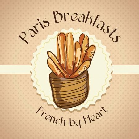 bread basket: French bread in basket, on vintage background. vector illustration Illustration