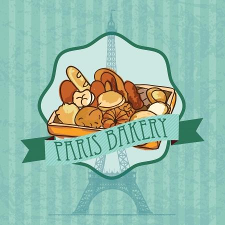 kneading: Parigi da forno diversi prodotti. Su sfondo vintage.