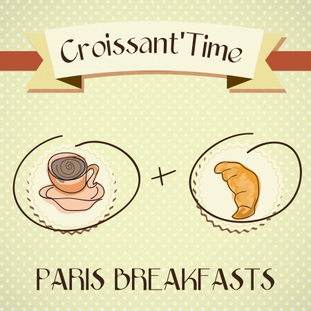 caffee: Paris Breakfast, croissant and coffee. Vector illustration Illustration