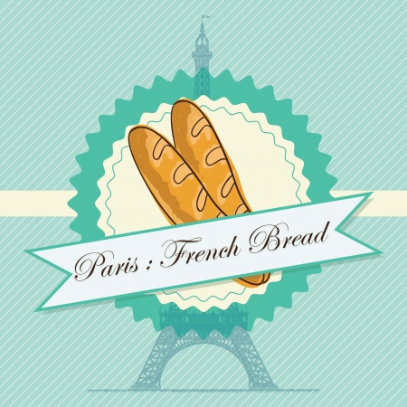 kneading: Paris Bakery  products: French Bread. On vintage background.