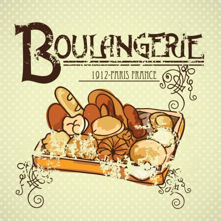boulangerie: Paris Bakery (Boulangerie) different products. On vintage background.  Illustration