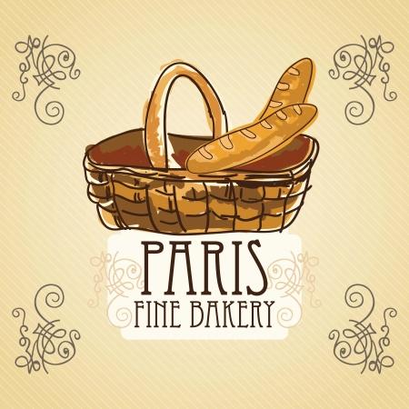 wholemeal: French bread in basket, on vintage background. vector illustration