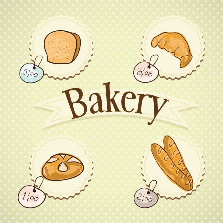 bakery oven: Paris Bakery different products prices. On vintage background.