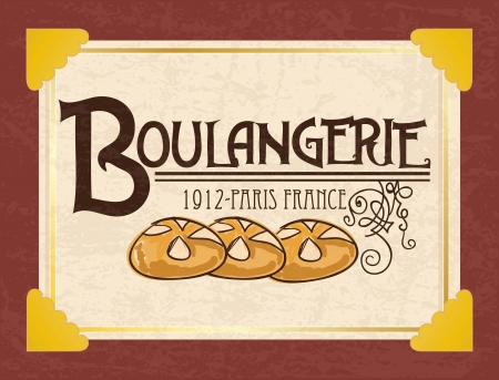 wholemeal: Placard of  French Bakery. Vintage style. On dark background
