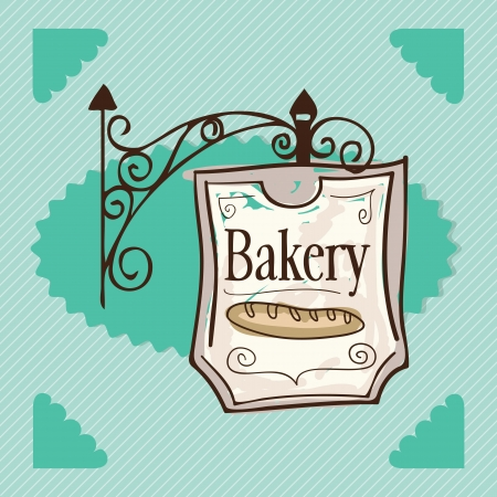 kneading: Hanging poster for bakery, on green background. Vector illustration