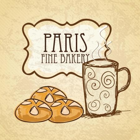 kneading: Paris Breakfast, bread and coffee. Vector illustration Illustration