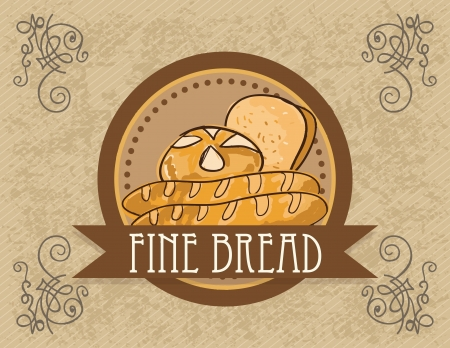 bolsa de pan: Paris Bakery (línea premium) productos diferentes. El fondo de la vendimia.