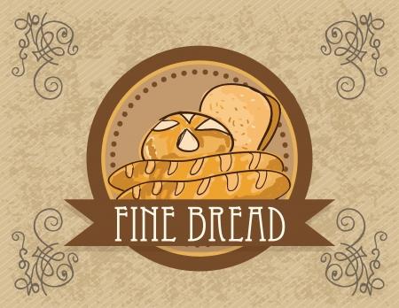 wholemeal: Paris Bakery (premium line) different products. On vintage background.  Illustration