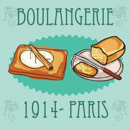 kneading: Impasto per il pane. E il pane pronto da mangiare. Su sfondo verde Vettoriali