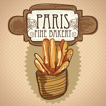 French bread in basket, on vintage background. vector illustration Ilustração