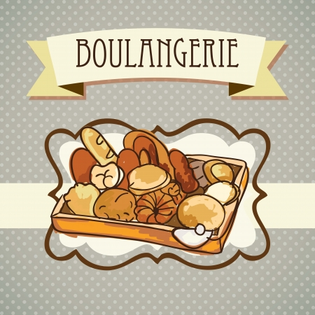 bakery oven: Paris Bakery (Boulangerie) different products. On vintage background.  Illustration