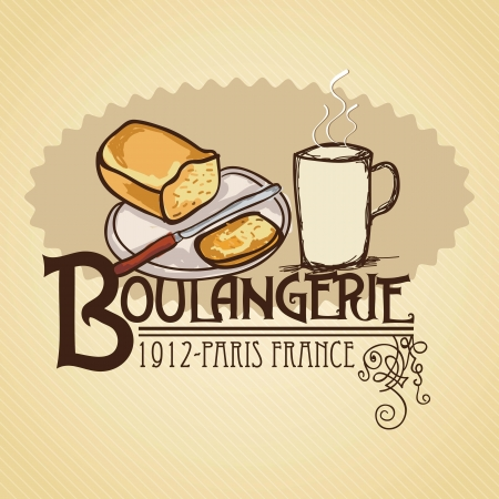 kneading: Paris Breakfast (Boulangerie), bread and coffee. Vector illustration