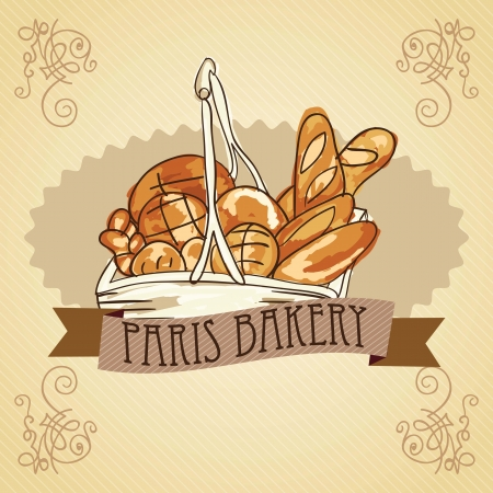 bakery products: French bakery & fine pastry. Vector illustration Illustration