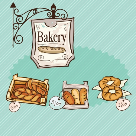 kneading: Paris Bakery different products prices. On vintage background.