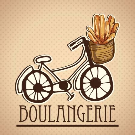 boulangerie: Delivery Service, of french bread (boulangerie). On vintage background Illustration