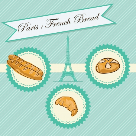 Paris Bakery different products. On vintage background. Stock Vector - 17734307