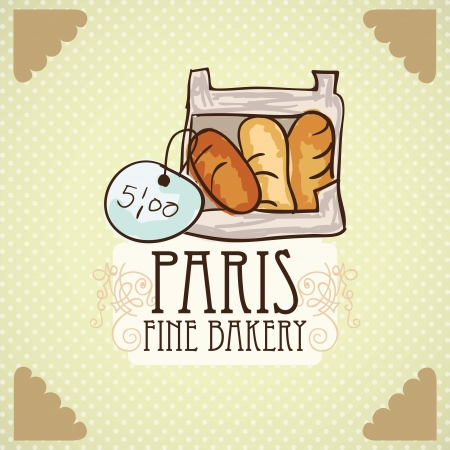 wholemeal: Paris Fine Bakery different products prices. On vintage background.  Illustration