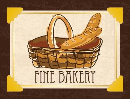 wholemeal: French bread in basket, on vintage background. vector illustration   Illustration