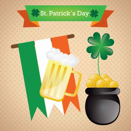 St Patrick�s Day elements on vintage background Stock Vector - 17734375