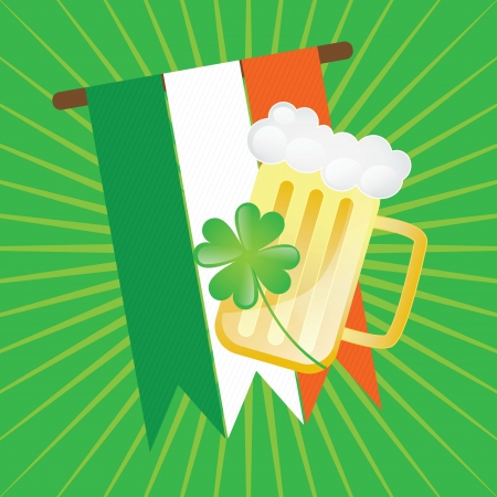 st patricks party: St Patrick�s Day flag and beer. On green background Illustration