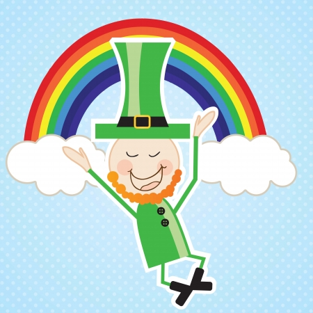 St Patricks Day leprechaun jumping with the rainbow. Vector illustration Vector