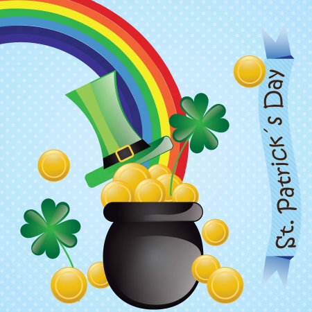 St Patrick�s Day elements (rainbow, hat, money). On blue background Vector
