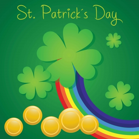 St Patrick�s Day illustration concept on green background.  With rainbow. Vector Vector