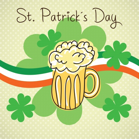 st patricks party: St Patrick�s Day element (beer and flag of Ireland) on vintage background.  Illustration