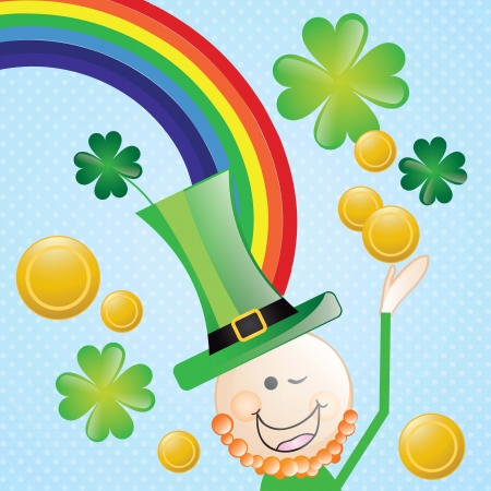 Lucky elf (hat and rainbow) On blue background. Vector illustration Vector