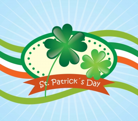 Lucky clover with the flag of Ireland. On blue bakground. Vector Vector