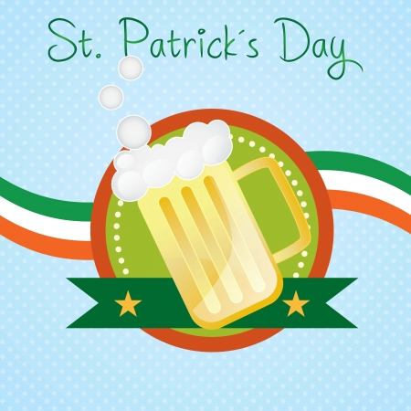 St Patrick�s Day Beer on blue background, with ireland flag Stock Vector - 17734284