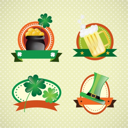 St Patrick�s Day Colorful Labels on vintage background. Vector illustration Vector