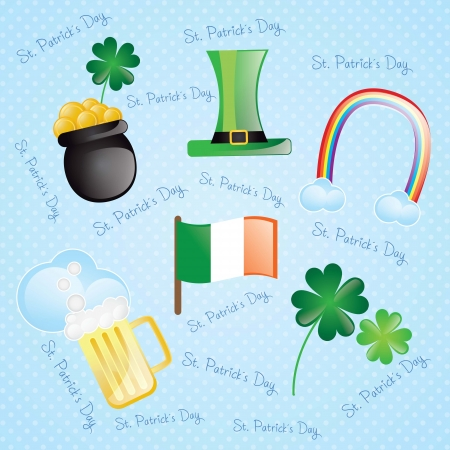 St Patrick�s Day Colorful elements on vintage background Vector