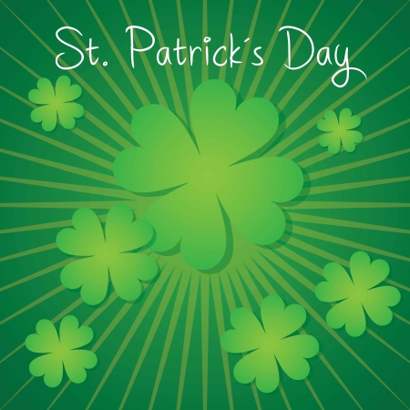 St Patrick�s Day lucky clovers, On green background Stock Vector - 17734306