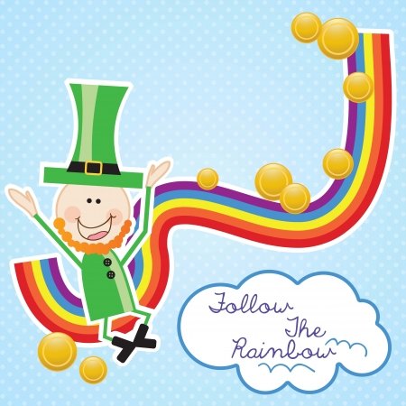 Lucky elf (hat and rainbow) Follow the rainbow. Vector illustration Vector
