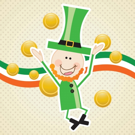 Lucky elf (money) On vintage background. Vector illustration Vector