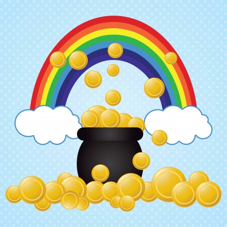 st patricks party: I found the pot of gold coins!.St Patrick�s Day vector
