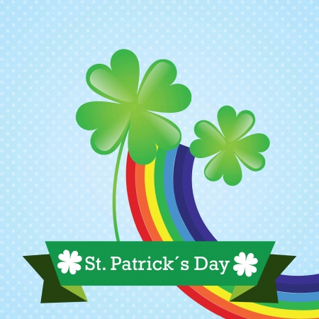 Lucky clover and rainbow over blue background.Vector illustration Stock Vector - 17734319