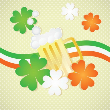 St Patrick�s Day Beer on vintage background, with ireland flag Stock Vector - 17734414